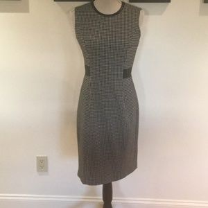 Houndstooth Sheeth dress with faux leather accents